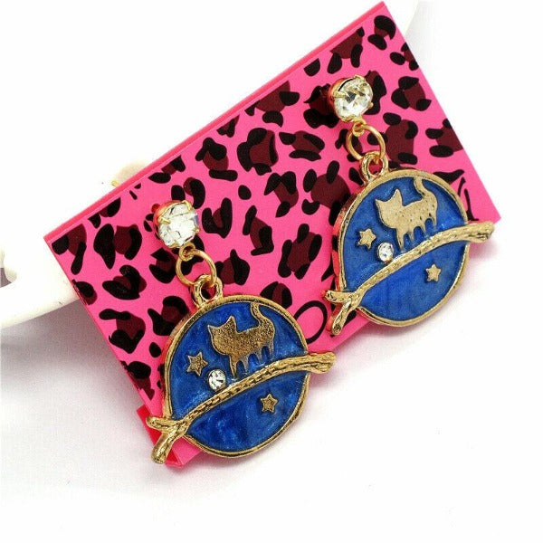 Betsey Johnson Cat on Twig Rhinestone Navy Blue & Gold Earrings