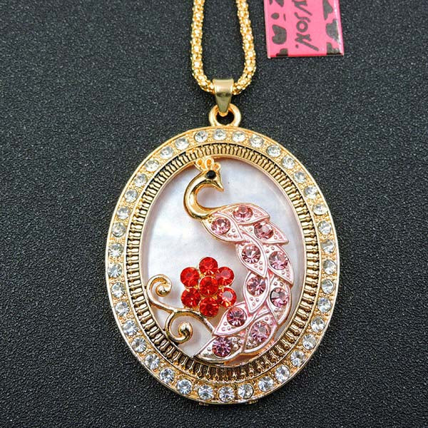 Betsey Johnson Peacock in Frame Pink Rhinestone Gold Pendant Necklace