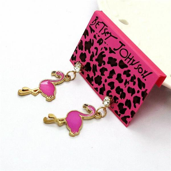 Betsey Johnson Flamingo Pink Enamel  Bird Earrings