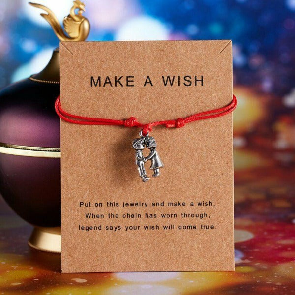 """Make A Wish"" Boy & Girl Note Card Red String Bracelet"