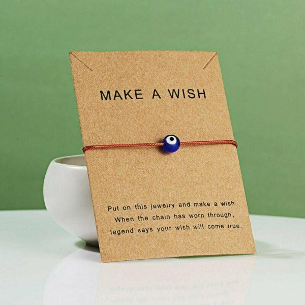 """Make A Wish"" Evil Eye Note Card Red String Bracelet"
