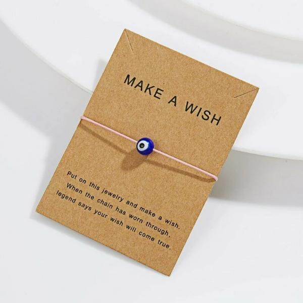 """Make A Wish"" Evil Eye Note Card Pink String Bracelet"