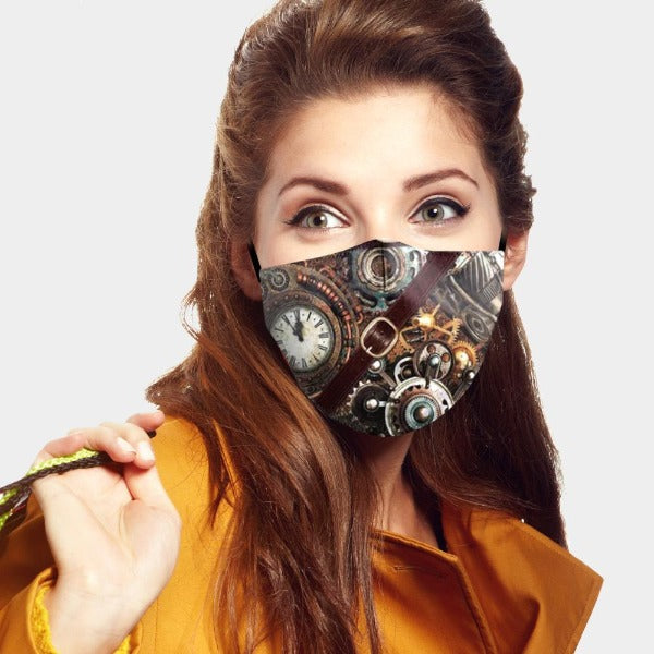 Face Mask Clock Print 3D Fit Adult Unisex