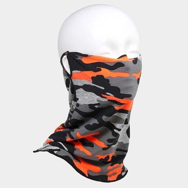 Face Mask Scarf Camouflage Orange Reusable Washable Adult Unisex