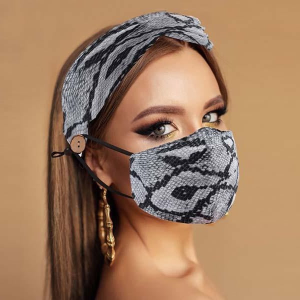 Face Mask & Matching Headband Snake Skin Print 2 Piece Set
