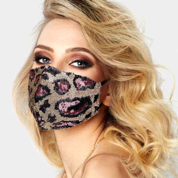 Face Mask Leopard Print Pink Sequin Reusable Washable Adult