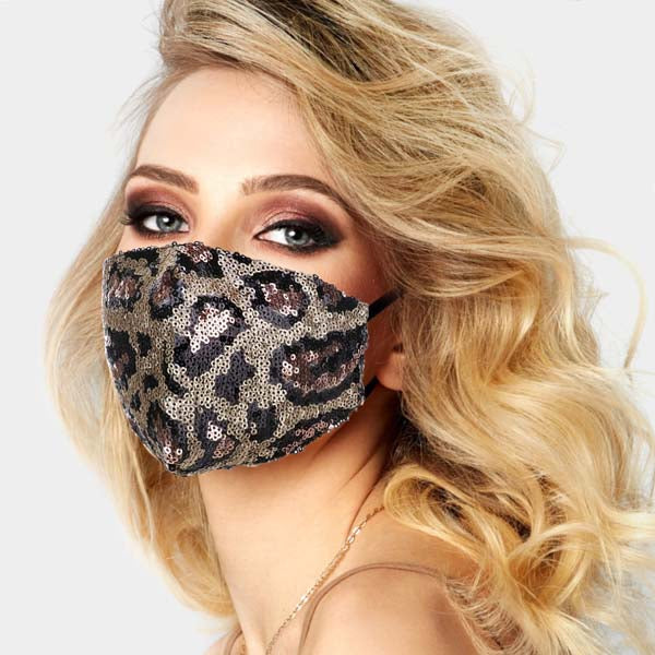 Face Mask Leopard Print Rose Gold Sequin Reusable Washable Adult