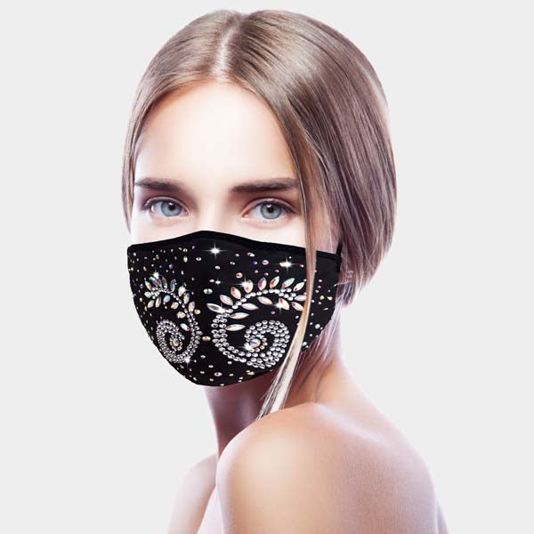 Face Mask Flower & Leaf Rhinestone Reusable Washable Cloth Adult Filter Pocket