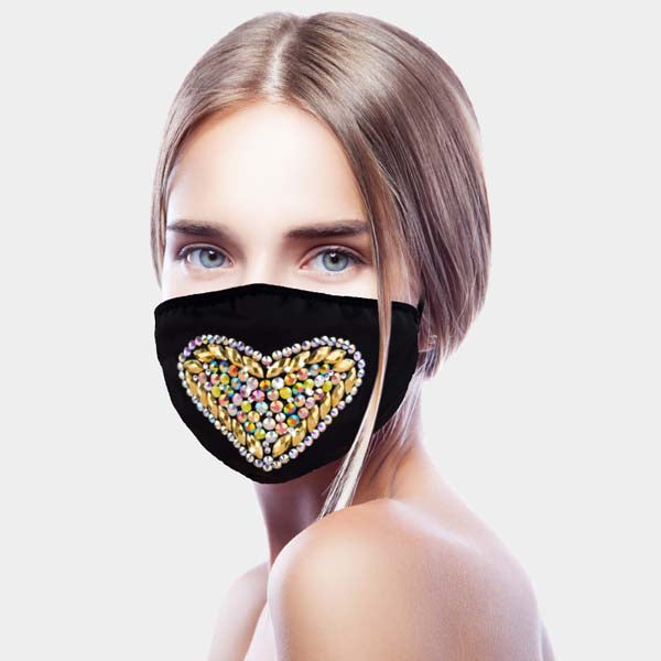 Face Mask Rhinestone Heart
