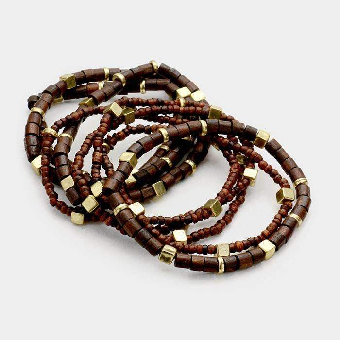 8 Piece Beaded Brown & Gold Boho Stretch Bracelets