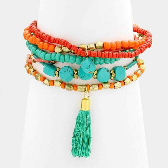 Multi Layered Strand Bead with Tassel Turquoise Stretch Bracelet