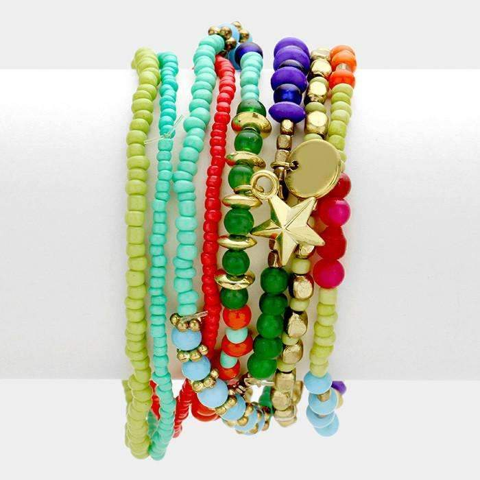 8 Piece Multi Layered Strand Bead with Star & Heart Charms Bracelet
