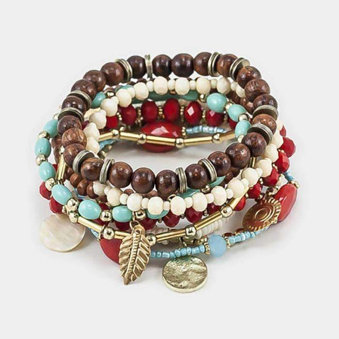10 Layers, Strands of Beads with Flower & Leaf Charms Stretch Bracelet