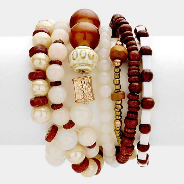 Multi Layered Strand Bead Stretch Boho Set of 7 Bracelets