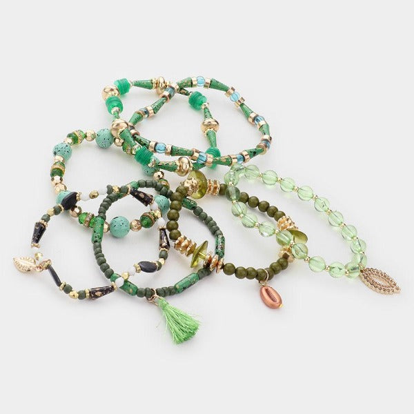 Green Charm Stretch 7 Layered Bracelets