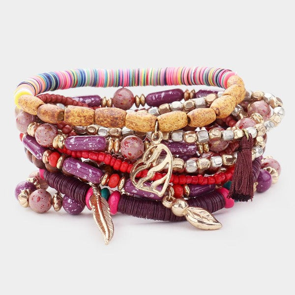Wood Heishi Charm Stretch 10 Layered Bracelets