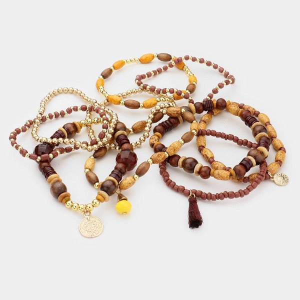 Coin Tassel Stretch 11 Layered Bracelets