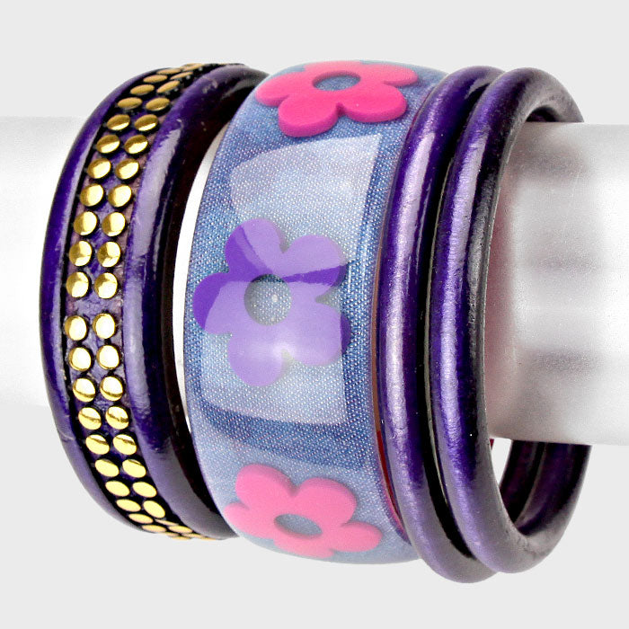 Flower Multi-Layered Purple Bracelet