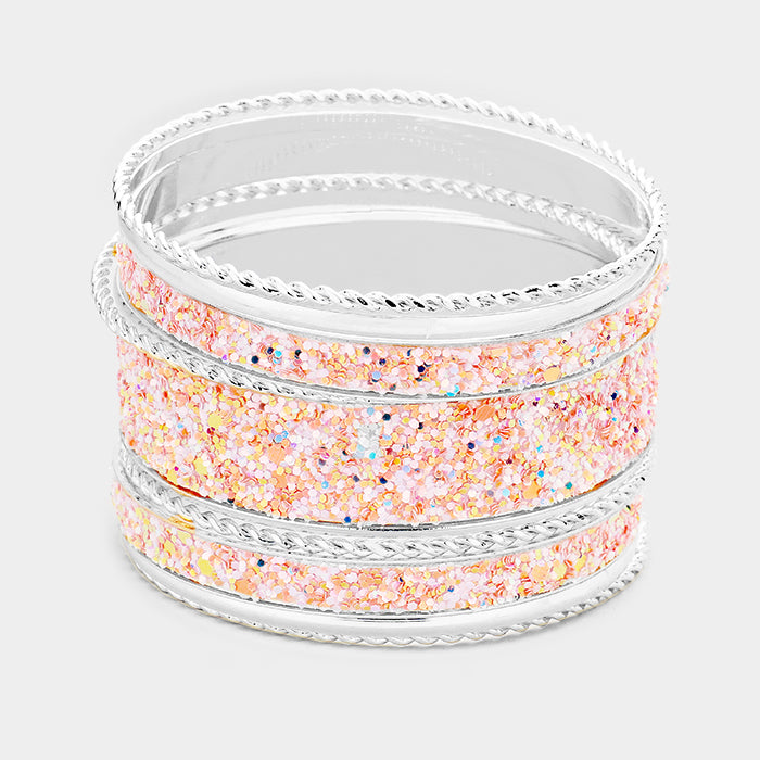 Sequin Embellished 11 Bangle Bracelets