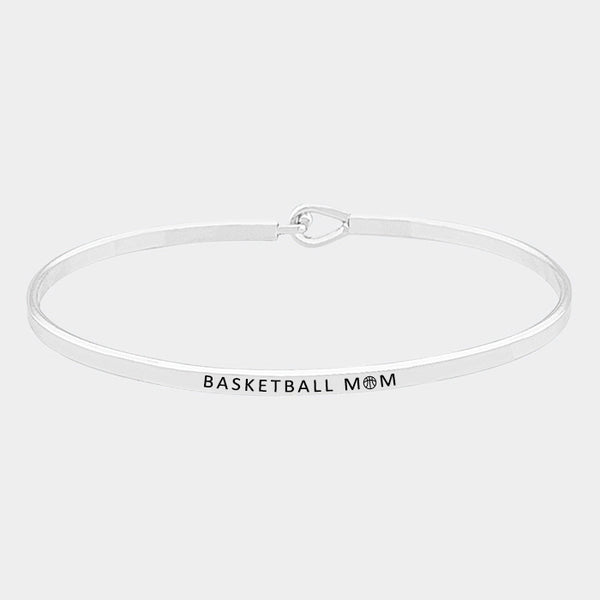 """BASKETBALL MOM"" Silver Thin Metal Hook Bracelet"