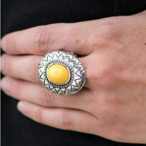 """Make Your Own Sunshine"" Bright Yellow Bead Silver Ring"