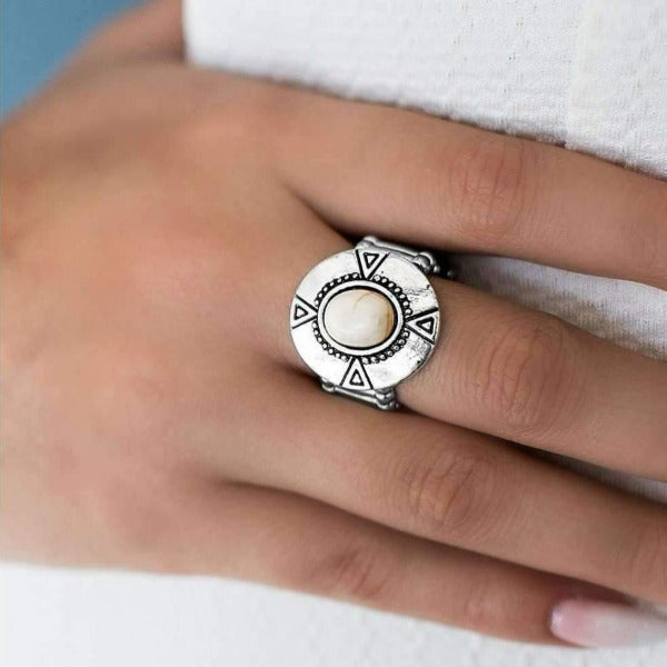 """Mesa Magic - White"" Geometric Patterns Silver Ring"