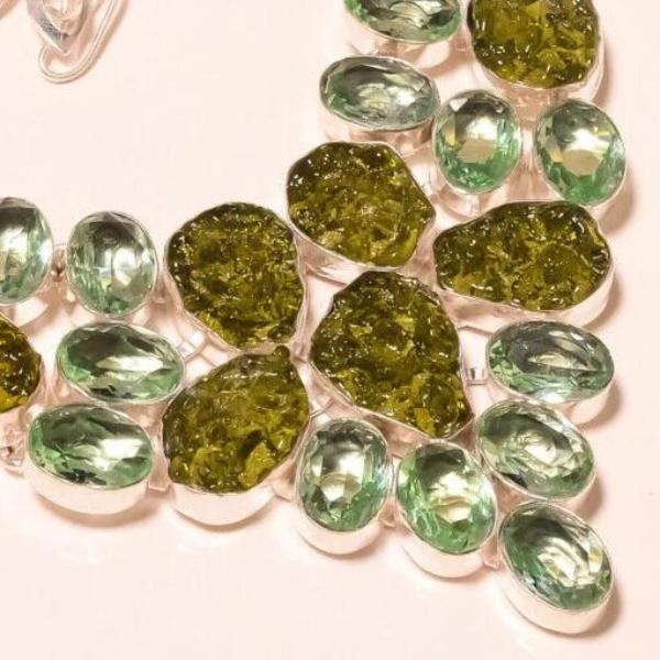 Moldavite, Faceted Green Amethyst Silver Plated Necklace 18""