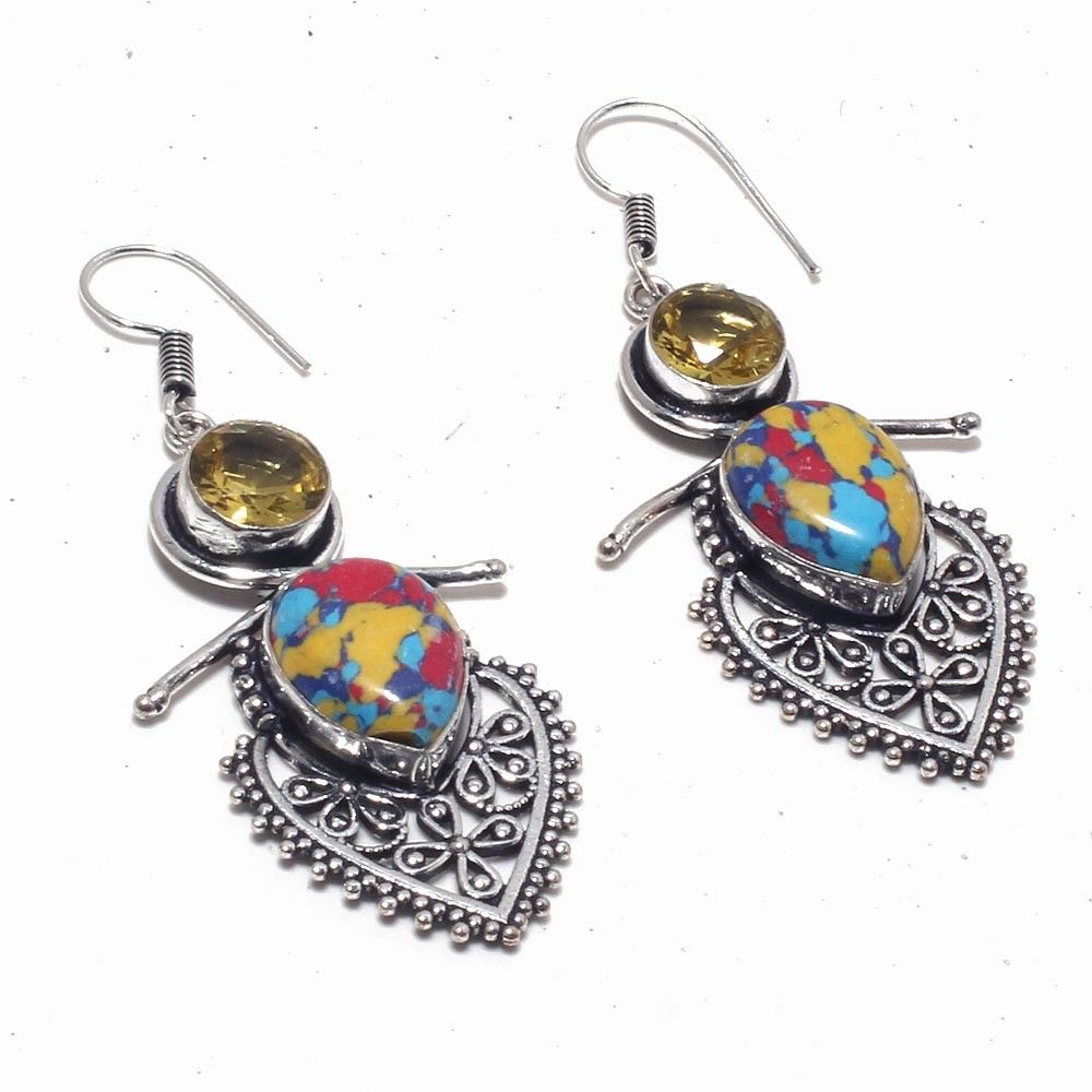 Mosaic Jasper & Citrine Ornate Handmade Silver Plated Earrings