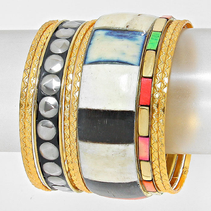 Multi-Colored 9 Layers Bangle Stackable Silver & Gold Bracelets