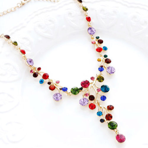 Multi-Colored Crystal Vine Gold Statement Necklace