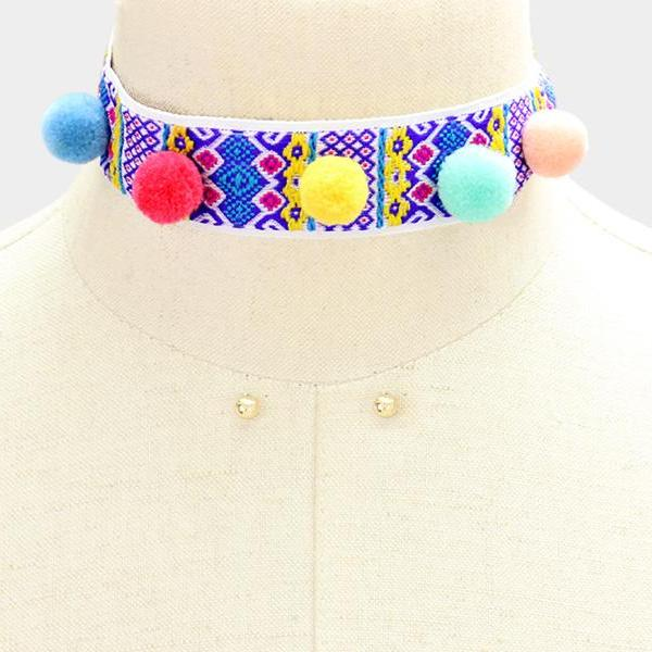 Multi Colored Pom Pom Embroidered Choker Necklace & Earrings Set