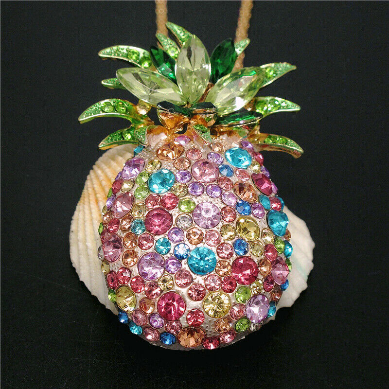 Betsey Johnson Multi-Color Rhinestone Pineapple Necklace