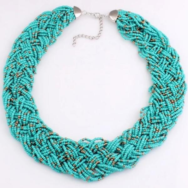 Teal Blue Seed Bead Multi-Layer Braided String Necklace