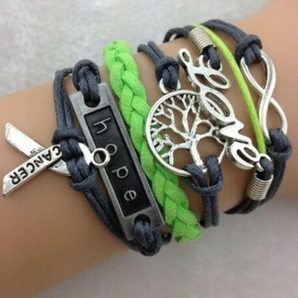 Love, Cancer, Hope, Infinity, Lime Green Blue Silver Friendship Bracelet