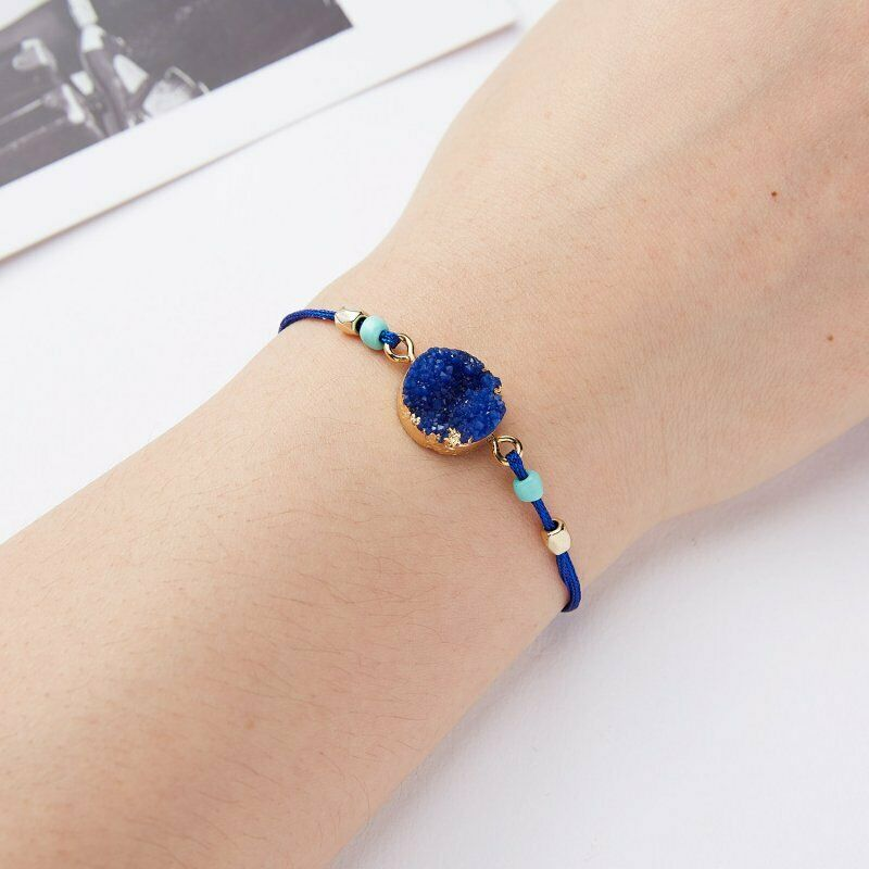 Natural Stone Blue Braid Make A Wish Card Bracelet