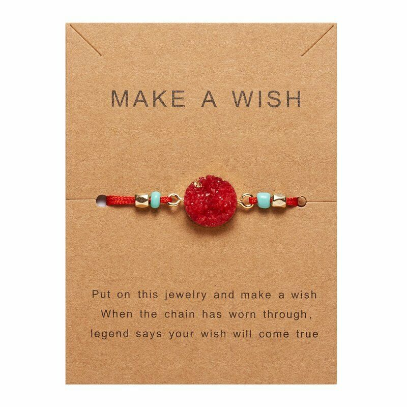 Natural Stone Red Braid Make A Wish Card Bracelet
