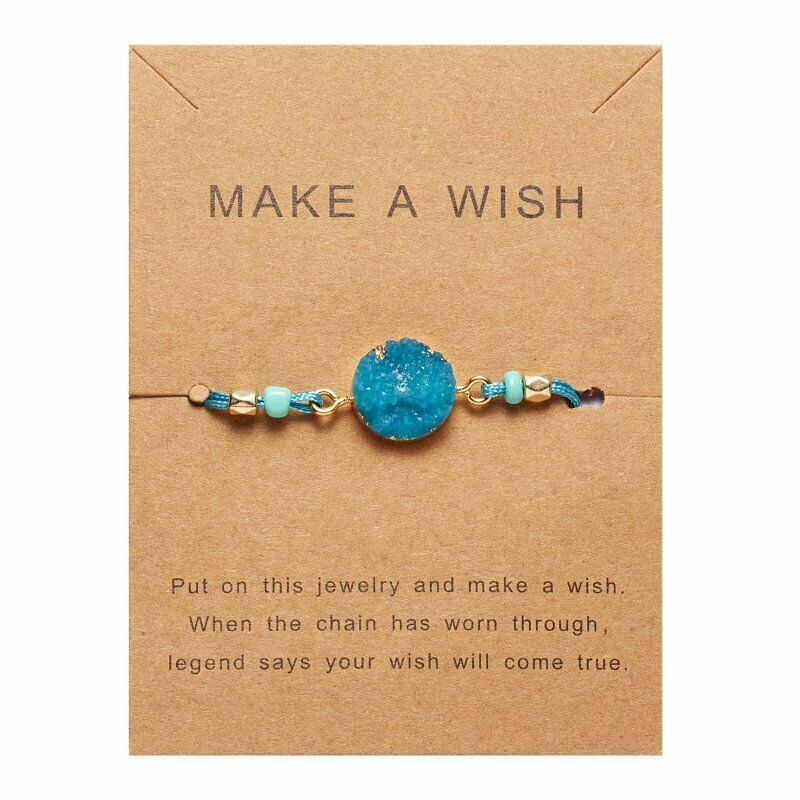 Natural Stone Teal Blue Braid Make A Wish Card Bracelet