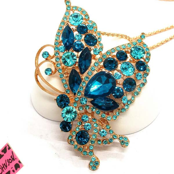 Betsey Johnson Butterfly Blue Rhinestone Pendant Necklace