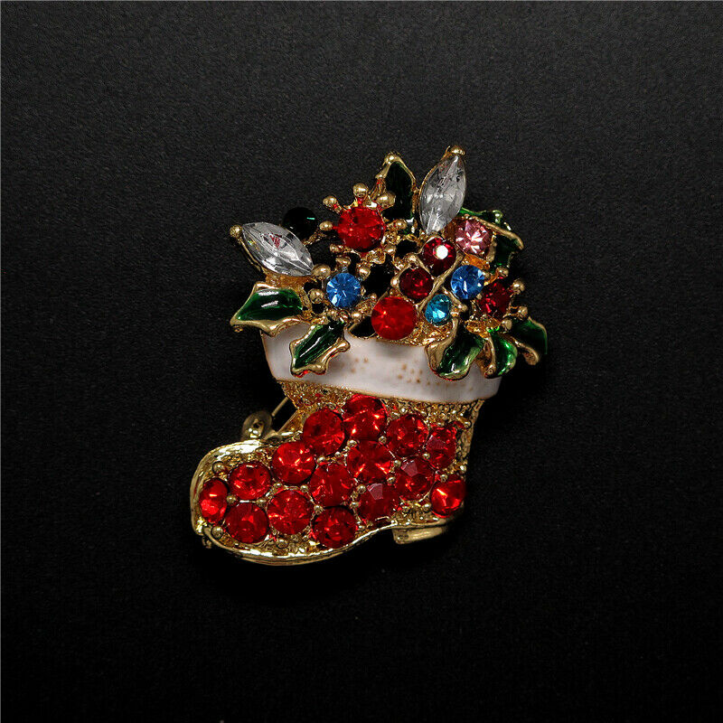 Betsey Johnson Christmas Santa Stocking Brooch Pin