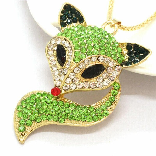 Betsey Johnson Fox Green Crystal Gold Pendant Necklace