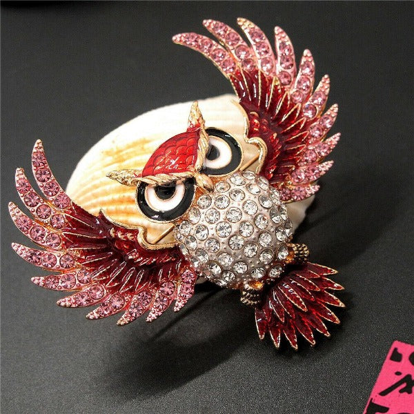 Betsey Johnson Owl Brown with Pink Rhinestones Brooch Pin