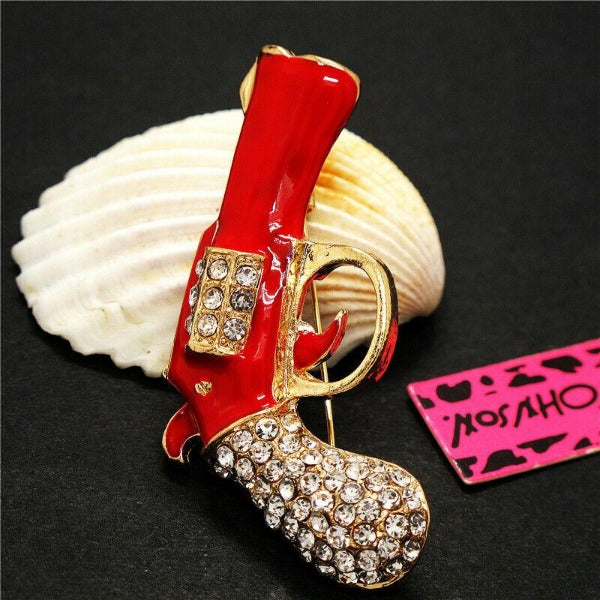 Betsey Johnson Gun Revolver Red Enamel Rhinestone Brooch Pin