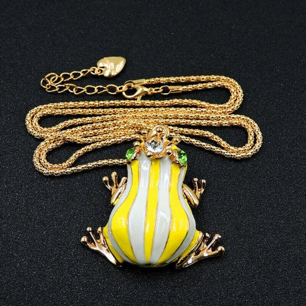 Betsey Johnson Frog Yellow & White Striped Enamel Crown Necklace