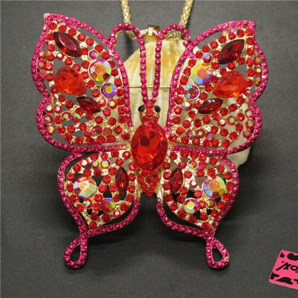 Betsey Johnson Pink Butterfly Rhinestone Large Gold Necklace