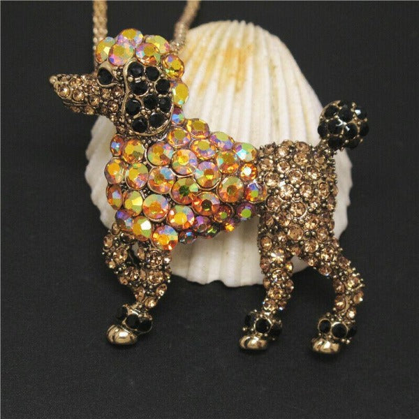 Betsey Johnson Poodle Dog Crystal Gold Pendant Necklace