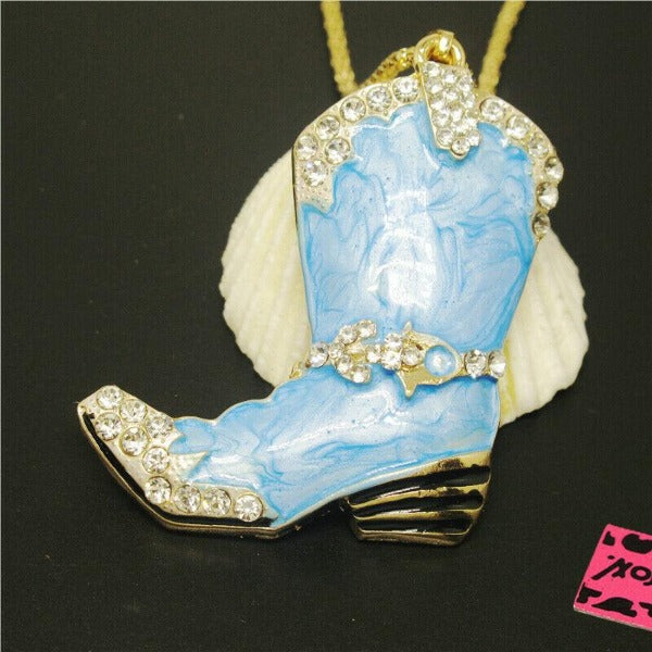 Betsey Johnson Cowboy Boot Blue Marble White Crystal Pendant Necklace