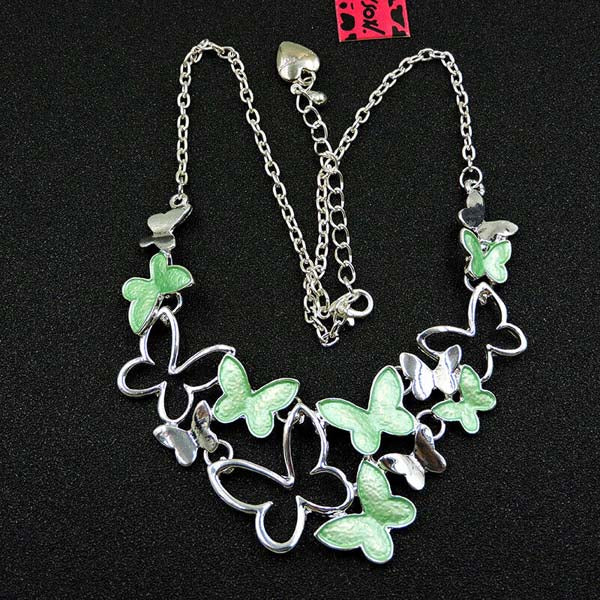 Betsey Johnson Butterfly Green & Silver Necklace