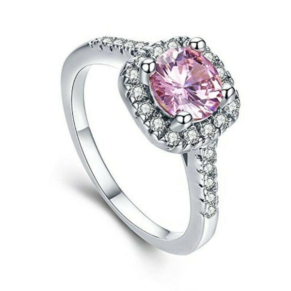 Pink & White Halo CZ Silver Tone Ring Size 7