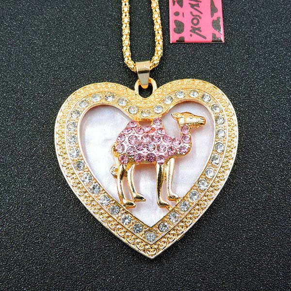 Betsey Johnson Camel in Heart Frame Rhinestone Pendant Necklace