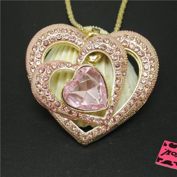 Betsey Johnson Triple Heart Pink Crystals Gold Pendant Necklace